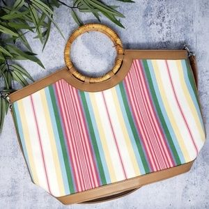 Fossil | Striped Wood Handle Handbag with Strap